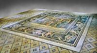Roman mosaics - Women At Breakfast Mosaic. Zosimos Villa, Ancient Zeugama, 2nd - 3rd century AD . Zeugma Mosaic Museum, Gaziantep, Turkey.  Against a grey background.