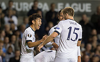 Son Heung-Min of Tottenham Hotspur celebrates his second goal with Eric Dier of Tottenham Hotspur during the UEFA Europa League match between Tottenham Hotspur and Qarabag FK at White Hart Lane, London, England on 17 September 2015. Photo by Andy Rowland.