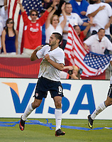 Clint Dempsey of the USA celebrates after scoring against El Salvador during a World Cup Qualifying match at Rio Tinto Stadium, in Sandy, Utah, Friday, September 5, 2009.  .The USA won 2-1.