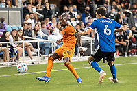 SAN JOSE, CA - JULY 24: Fafa Picault #10 of the Houston Dynamo controls the ball during a game between San Jose Earthquakes and Houston Dynamo at PayPal Park on July 24, 2021 in San Jose, California.