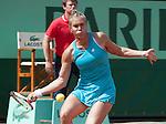 Nina Bratchikova (RUS) loses  at Roland Garros in Paris, France on June 2, 2012