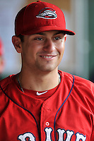 Infielder Nick Lovullo (36) of the Greenville Drive during a break in a game against the Greensboro Grasshoppers on Thursday, July 14, 2016, at Fluor Field at the West End in Greenville, South Carolina. Greenville won, 3-1. (Tom Priddy/Four Seam Images)