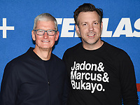 """15 July 2021 - West Hollywood, California - Tim Cook, Jason Sudeikis. Apple's """"Ted Lasso"""" Season 2 Premiere held at the Pacific Design Center. Photo Credit: Billy Bennight/AdMedia"""