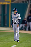 Columbus Clippers coach Kyle Hudson (10) during an International League game against the Indianapolis Indians on April 29, 2019 at Victory Field in Indianapolis, Indiana. Indianapolis defeated Columbus 5-3. (Zachary Lucy/Four Seam Images)