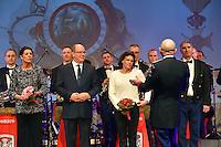 ---- NO TABLOIDS NO SITE WEB --- Le Prince Albert II de Monaco accompagn? de ses soeurs, la Princesse Caroline de Hanovre et la Princesse St?phanie de Monaco, c?l?brent le 50?me Anniversaire de l'Orchestre des Carabiniers du Prince en assistant ? leur concert ? l'auditorium Rainier III le 16 mars 2016. Au programme de cette soir?e riche en ?motion, un r?pertoire dans lequel l&