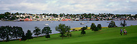 Old Town Lunenburg, a UNESCO World Heritage Site, NS, Nova Scotia, Canada - Lunenburg Harbour / Harbor and Bluenose Golf Course at Kaulbach Head - Panoramic View