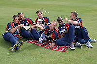 Essex CCC players (from L) Michael Comber, Tymal Mills, Tim Philllps, Tom Westley, Maurice Chambers and Tom Craddock eat popcorn in Friends Life T20 kit - Essex CCC Press Day at the Ford County Ground, Chelmsford, Essex - 03/04/12 - MANDATORY CREDIT: Gavin Ellis/TGSPHOTO - Self billing applies where appropriate - 0845 094 6026 - contact@tgsphoto.co.uk - NO UNPAID USE.