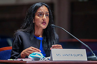 President of the Leadership Conference on Civil and Human Rights Vanita Gupta during the House Judiciary Committee hearing on ÎPolicing Practices and Law Enforcement AccountabilityÌ at the US Capitol in Washington, DC, USA, 10 June 2020. The hearing comes after the death of George Floyd while in the custody of officers of the Minneapolis Police Department and the introduction of the Justice in Policing Act of 2020 in the US House of Representatives.<br /> Credit: Michael Reynolds / Pool via CNP/AdMedia