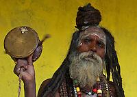 Sadhu at Balaju mela Hindu bating festival, Kathmandu, Nepal