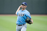Wilmington Blue Rocks starting pitcher Corey Ray (26) warms up in the outfield prior to the game against the Winston-Salem Dash at BB&T Ballpark on June 5, 2016 in Winston-Salem, North Carolina.  The Dash defeated the Blue Rocks 4-0.  (Brian Westerholt/Four Seam Images)