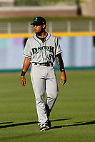 Dayton Dragons infielder Leandro Santana (8) in the outfield before a game against the Lansing Lugnuts at Cooley Law School Stadium on August 10, 2018 in Lansing, Michigan . Lansing defeated Dayton 11-4.  (Robert Gurganus/Four Seam Images)