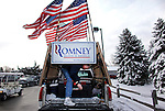 Jim Wilson, 68, from Buckingham, Virginia, who has followed Republican Presidential candidate Mitt Romney (R-MA) since the Iowa State Fair, waits for him to arrive to the Ingham Lincoln Day Breakfast at the Chisholm Hills Banquet Center in Lansing, Michigan on Saturday, February 25, 2012. (Photo by Yana Paskova for The New York Times)<br /> <br /> Assignment ID: 30121768A