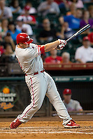 Philadelphia Phillies pinch hitter Darin Ruf #18 swings during the Major League baseball game against the Houston Astros on September 16th, 2012 at Minute Maid Park in Houston, Texas. The Astros defeated the Phillies 7-6. (Andrew Woolley/Four Seam Images).