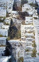 "Roman Technology:  Ruins of  Mills at Barbegal.  Foundations and containments of 16 water wheels.  A. Trevor Hodge, ""A ROMAN FACTORY"", Science America.  Photo '91."