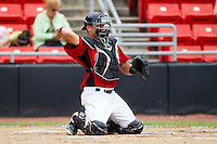 Catcher Vinny DiFazio #23 of the Hickory Crawdads on defense against the Kannapolis Intimidators at  L.P. Frans Stadium August 1, 2010, in Hickory, North Carolina.  Photo by Brian Westerholt / Four Seam Images