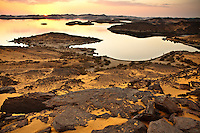 Lake Nasser in Egypt is a massive piece of water created with the Aswan dam