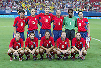 26 August 2004: USA team starting line-up before the gold medal game against Brazil at Karaiskakis Stadium in Athens, Greece.   USA defeated Brazil 2-1 in overtime.   Credit: Michael Pimentel / ISI.
