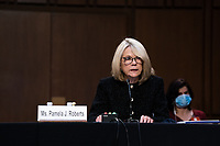 Pamela J. Roberts, an American Bar Association representative, speaks during the fourth day of the confirmation hearing for Judge Amy Coney Barrett, President Donald Trump's Nominee for Supreme Court, in Hart Senate Office Building in Washington DC, on October 15th, 2020.<br /> Credit: Anna Moneymaker / Pool via CNP /MediaPunch