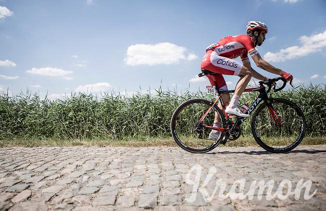 Jesus Herrada (ESP/Cofidis) riding the cobbles. <br /> <br /> Stage 9: Arras Citadelle > Roubaix (154km)<br /> <br /> 105th Tour de France 2018<br /> ©kramon