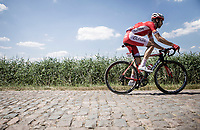 Jesus Herrada (ESP/Cofidis) riding the cobbles. <br /> <br /> Stage 9: Arras Citadelle > Roubaix (154km)<br /> <br /> 105th Tour de France 2018<br /> ©kramon