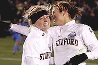 COLLEGE STATION, TX - DECEMBER 4:  Alicia Jenkins and Kelley O'Hara of the Stanford Cardinal during Stanford's 2-1 (OT) win over the UCLA Bruins in the NCAA Women's Soccer Championships semi-finals on December 4, 2009 in College Station, Texas.