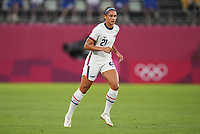 KASHIMA, JAPAN - JULY 27: Lynn Williams #2 of the United States looking for a ball before a game between Australia and USWNT at Ibaraki Kashima Stadium on July 27, 2021 in Kashima, Japan.