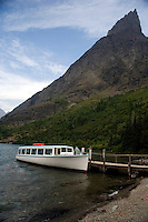 A view of the tourist boat on Lake Josephine in the Many Glacier section of Glacier National Park, Montana.