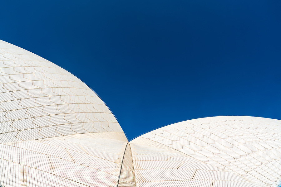 The Sydney Opera House is one of the world's most identifiable images.  This is an up close and personal view of the abstract roof lines.