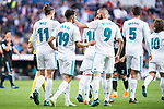 Real Madrid Gareth Bale, Achraf Hakimi, Karim Benzema and Raphael Varane celebrating a goal during La Liga match between Real Madrid and Celta de Vigo at Santiago Bernabeu Stadium in Madrid, Spain. May 12, 2018. (ALTERPHOTOS/Borja B.Hojas)