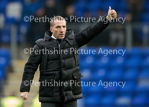 St Johnstone v Celtic…05.02.17     SPFL    McDiarmid Park<br />Thumbs up from Celtic manager Brendan Rogers<br />Picture by Graeme Hart.<br />Copyright Perthshire Picture Agency<br />Tel: 01738 623350  Mobile: 07990 594431