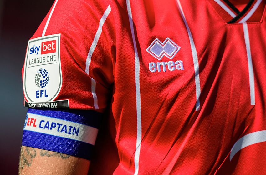 A close up of the EFL Sky Bet League One logo, and an EFL captain's armband worn by Lincoln City's Jorge Grant<br /> <br /> Photographer Chris Vaughan/CameraSport<br /> <br /> The EFL Sky Bet League One - Saturday 12th September 2020 - Lincoln City v Oxford United - LNER Stadium - Lincoln<br /> <br /> World Copyright © 2020 CameraSport. All rights reserved. 43 Linden Ave. Countesthorpe. Leicester. England. LE8 5PG - Tel: +44 (0) 116 277 4147 - admin@camerasport.com - www.camerasport.com - Lincoln City v Oxford United
