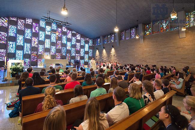 Jul. 15, 2015; Fr. Pat Reidy, C.S.C. celebrates Mass with ND Vision students at Moreau Seminary Chapel, Summer 2015. (Photo by Matt Cashore/University of Notre Dame)