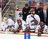 John Muse (BC - 1), Edwin Shea (BC - 8), Bert Lenz (BC - Trainer), Carl Sneep (BC - 7), John Hegarty (BC - Dir-Hockey Operations), Greg Brown (BC - Assistant Coach), Brian Dumoulin (BC - 2) - The Boston College Eagles defeated the Merrimack College Warriors 4-3 on Friday, October 30, 2009, at Conte Forum in Chestnut Hill, Massachusetts.