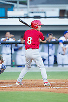Casey Turgeon (8) of the Johnson City Cardinals at bat against the Burlington Royals at Burlington Athletic Park on July 14, 2014 in Burlington, North Carolina.  The Cardinals defeated the Royals 9-4.  (Brian Westerholt/Four Seam Images)