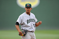 Relief pitcher Carlos Diaz (53) of the Augusta GreenJackets in a game against the Greenville Drive on Sunday, April 12, 2015, at Fluor Field at the West End in Greenville, South Carolina. Augusta won, 2-1. (Tom Priddy/Four Seam Images)