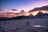 The Chamonix to Zermatt Glacier Haute Route. In late August 2017, we ran the tour in mountain running gear, running shoes, and all the necessary glacier travel and crevasse rescue gear. Sunrise on the Glacier du Mont Minè with Dent Blanche in the background.
