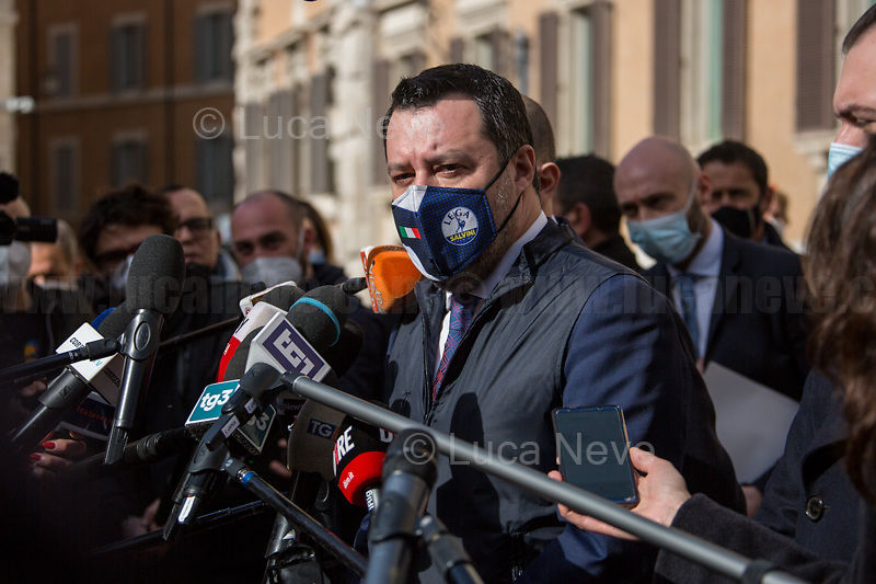 Matteo Salvini MP (Delegation of Lega / League Party). <br /> <br /> Rome, 06/02/2021. Today, the designated Italian Prime Minister - and former President of the European Central Bank -, Mario Draghi, held his third day of consultations at Palazzo Montecitorio, meeting delegations of the Italian political parties in his attempt to form the new Italian Government.