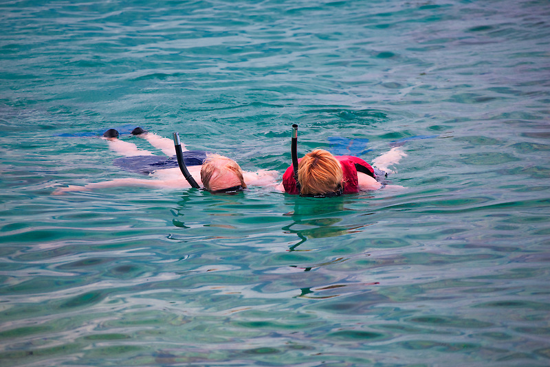 Snorklers at Coki Beach. St. Thomas. US Virgin Islands.