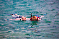 Snorklers at Coki Beach. St. Thomas. US Virgin Islands.