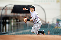 Jupiter Hammerheads first baseman John Silviano (22) chases a base runner in a run down during a game against the Bradenton Marauders on May 25, 2018 at LECOM Park in Bradenton, Florida.  Jupiter defeated Bradenton 3-2.  (Mike Janes/Four Seam Images)
