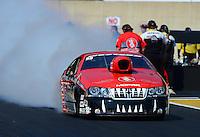 Oct. 5, 2012; Mohnton, PA, USA: NHRA pro stock driver V. Gaines during qualifying for the Auto Plus Nationals at Maple Grove Raceway. Mandatory Credit: Mark J. Rebilas-