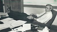 1985 FILE PHOTO - ARCHIVES -<br /> <br /> Historic day, Liberal leader David Peterson had a chance to relax in his office yesterday after a historic day that saw the signing of an agreement between Peterson and New Democratic Party leader Bob Rae that could make the Liberal leader premier of Ontario this summer. This is not a coalition and I don't want anyone to have that impression, Peterson told reporters.<br /> <br /> 1985<br /> <br /> PHOTO :  Erin Comb - Toronto Star Archives - AQP