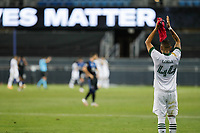 SAN JOSE, CA - SEPTEMBER 19: Marvin Loria #44 of the Portland Timbers celebrates during a game between Portland Timbers and San Jose Earthquakes at Earthquakes Stadium on September 19, 2020 in San Jose, California.