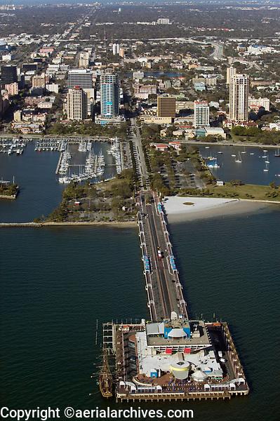 aerial photogarph of the St. Petersburg Pier, St. Peterburg, Tampa Bay,  Florida