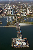 aerial photogarph of the St. Petersburg Pier, St. Peterburg, Tampa Bay,  Florida