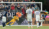 FOXBOROUGH, MA - JULY 28: Carles Gil #22 penalty kick score during a game between Orlando City SC and New England Revolution at Gillette Stadium on July 27, 2019 in Foxborough, Massachusetts.