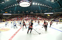 The Charlotte Checkers, an American Hockey League (AHL) ice hockey team based in Charlotte, NC,  vs. Manitoba Moose. The Checkers play at Bojangles Coliseum. The professional hockey team is affiliated with the NHL's Carolina Hurricanes.<br /> <br /> Charlotte Photographer - PatrickSchneiderPhoto.com