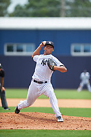 GCL Yankees West starting pitcher Pedro Barrios (26) delivers a pitch during the second game of a doubleheader against the GCL Yankees East on July 19, 2017 at the Yankees Minor League Complex in Tampa, Florida.  GCL Yankees West defeated the GCL Yankees East 3-1.  (Mike Janes/Four Seam Images)