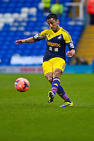 Saturday 25 January 2014<br /> Pictured: Neil Taylor crosses the ball across field <br /> Re: Birmingham City v Swansea City FA Cup fourth round match at St. Andrew's Birimingham