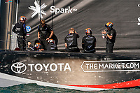 13th March 2021; Waitemata Harbour, Auckland, New Zealand;  Emirates Team New Zealand sailors in discussion before the start of race five on day three of the America's Cup presented by Prada against Luna Rossa Prada Pirelli Team.